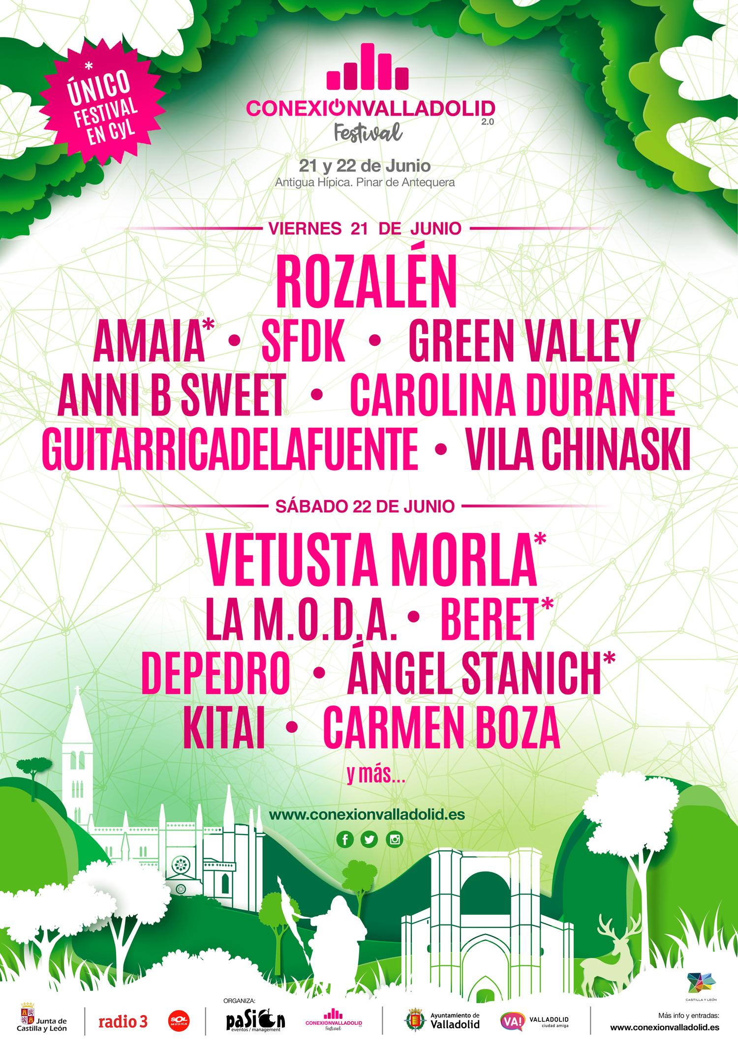 Cartel por días Conexión Valladolid Festival 2019 tras las nuevas confirmaciones